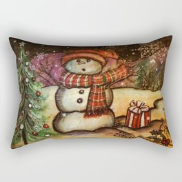 Christmas Surprise Snowman Rectangular Pillow