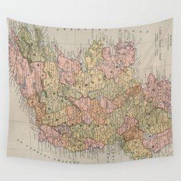 Vintage Map of Ireland (1883) Wall Tapestry