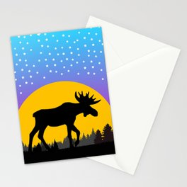 Moose Moon Light Pink and Light Blue Stationery Cards