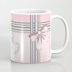Silver hearts on pastel pink with pretty matching bow Mug