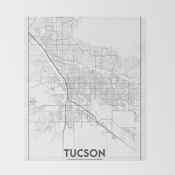 Minimal City Maps - Map Of Tucson, Arizona, United States Throw ...