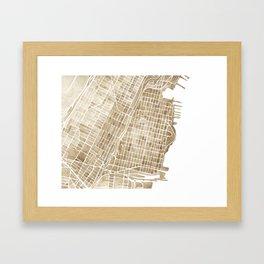 Hoboken New Jersey city map Framed Art Print
