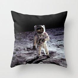 Buzz Aldrin on the Moon Throw Pillow