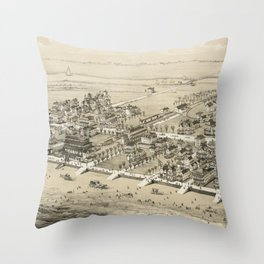 Vintage Pictorial Map of Sea Isle City NJ (1885) Throw Pillow