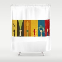 justice league Shower Curtains featuring Justice by Danny Haas