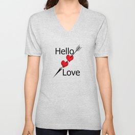 Hello love! White background . Unisex V-Neck