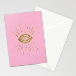 Evil Eye Gold on Pink #1 #drawing #decor #art #society6 Stationery Cards