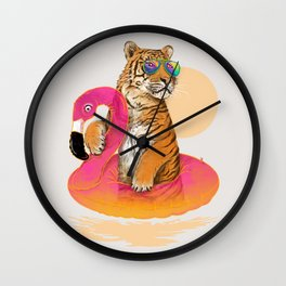 Chillin (Flamingo Tiger) Wall Clock