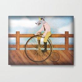 Bicycle Unicorn V02 Metal Print