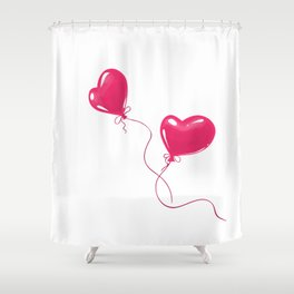 Heart shaped red balloons Shower Curtain