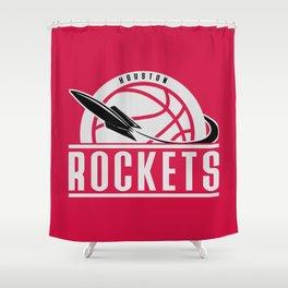 Rockets custom vintage basketball red logo Shower Curtain