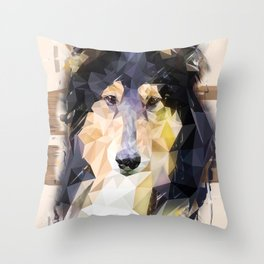 Rough Collie (Low Poly) Throw Pillow