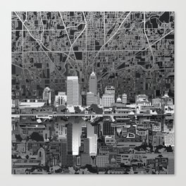 indianapolis city skyline black and white Canvas Print