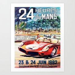 Le Mans poster, 1962, vintage poster, t-shirt, race poster Art Print