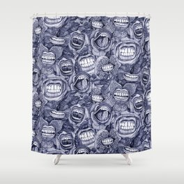 BITE ME roses and orchids INDIGO Shower Curtain