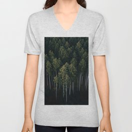 Aerial Photograph of a pine forest in Germany - Landscape Photography Unisex V-Neck