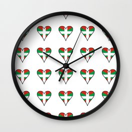 Flag of Euskal Herria 3 -Basque,Pays basque,Vasconia,pais vasco,Bayonne,Dax,Navarre,Bilbao,Pelote,sp Wall Clock