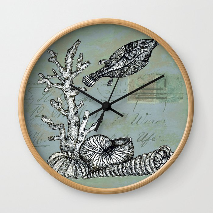 Vintage Shells Wall Clock
