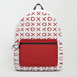 kisses and hugs // red on white Backpack