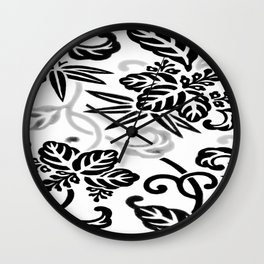 Japanese Floral Gray Slate White Wall Clock