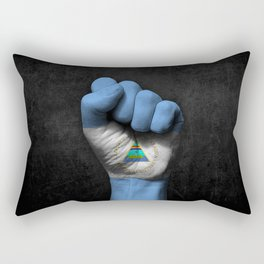 Nicaraguan Flag on a Raised Clenched Fist Rectangular Pillow