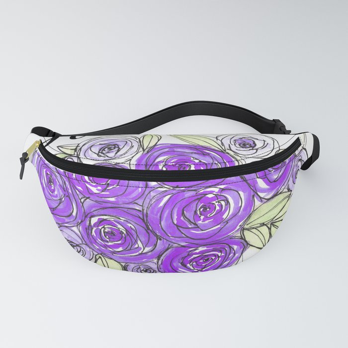 Bride Wedding Bridal Purple Violet Lavender Roses Watercolor Fanny Pack