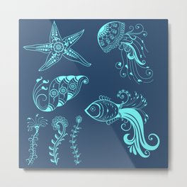 Vector abstract marine creatures in indian mehndi style. Metal Print