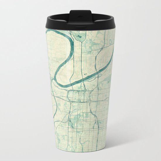 Kansas City Map Blue Vintage Metal Travel Mug