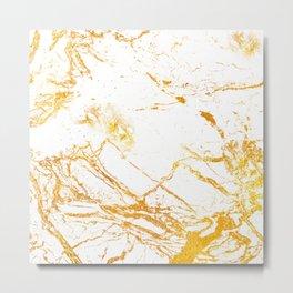 Glitter Gold, Rose Gold & White Marble Metal Print