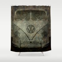 vw bus Shower Curtains featuring VW Zombiemobile - A killer Zombie bus by Bruce Stanfield