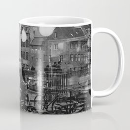 Copenhagen street scene,view from cafe, black and white Coffee Mug