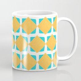 Teal and yellow squares pattern Coffee Mug