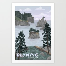 Olympic National Park Poster, Washington, illustrated National Parks USA Art Print