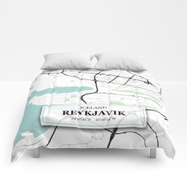 Reykjavik Iceland City Map with GPS Coordinates Comforters