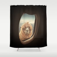 llama Shower Curtains featuring QUÈ PASA? by Monika Strigel