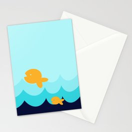 Beach Series Aqua- Gold Fish Animals in the deep Sea Stationery Cards