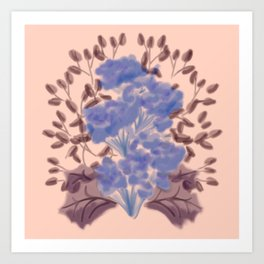 Symmetrical Flowers Pink Peach Blue Purple Maroon Art Print