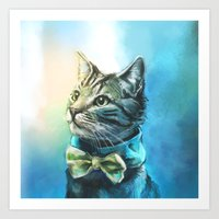 cats Art Prints featuring Handsome Cat by Alice X. Zhang