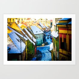 Street Scene in Sibiu, Romania Art Print