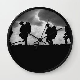 Soldier Silhouettes - Battle of Broodseinde Wall Clock