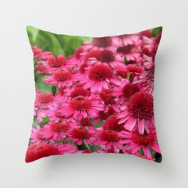 FUCHSIA PINK ECHINACEA GARDEN FLORAL Throw Pillow