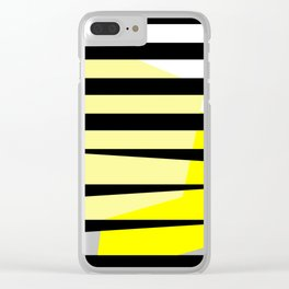 Yellow Abstract Black Stripes Clear iPhone Case