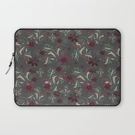 Burgundy flowers on gray Laptop Sleeve