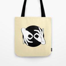 Sign Language (ASL) Interpreter – White on Black 04 Tote Bag