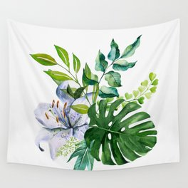 Flower and Leaves Wall Tapestry
