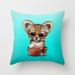 Tiger Cub Playing With Basketball Throw Pillow