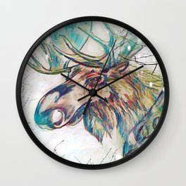 Moose Into The Frost Wall Clock