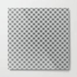 Festive Gray and White Snowflake Pattern Metal Print