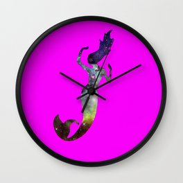 Galaxy Mermaid 2 (Pink) Wall Clock