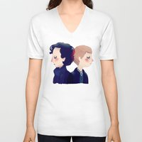 221b V-neck T-shirts featuring 221B by Nan Lawson